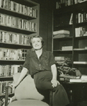 Ayn Rand in her library